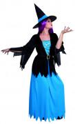 Costume strega blu e nero donna Halloween
