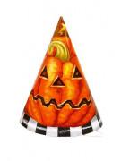 Lotto di 6 cappelli zucca in cartone Halloween