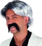 Parrucca grigia con baffi uomo