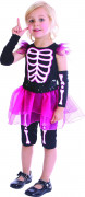 Costume da scheletro rosa per bambina