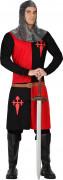Costume cavaliere medievale rosso e nero uomo