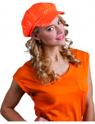 Berretto arancione con paillettes adulto