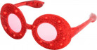 Occhiali ovali con paillettes rosse e led luminosi