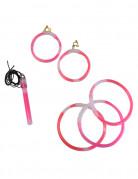 Bracciali, collana e orecchini rosa fosforescenti