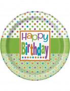 8 Piatti di carta Happy Birthday