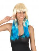 Parrucca Tie and dye bionda e azzurra per donna