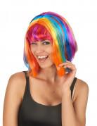Parrucca a caschetto arcobaleno per adulto
