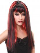 Parrucca vampiro lunga nera e rossa con frangia.