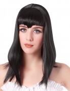 Parrucca vampiro lunga nera con frangia donna