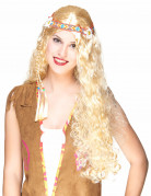 Parrucca lunga da hippie bionda per adulto