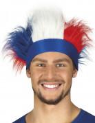 Fascia con capelli sintetici bianco, rosso e blu
