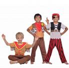 Costume 3 in 1: pirata/sceriffo/indiano per bambino