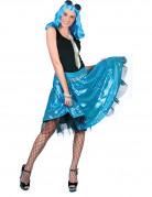 Gonna disco azzurra con paillettes per donna