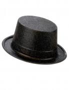 Cappello cilindro in plastica con paillettes nero per Adulto