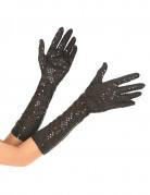 Guanti neri con paillettes lunghi per adulto