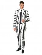 Abito classico da uomo Mr. Striped bianco e nero Suitmeister™