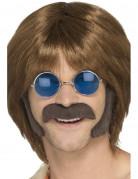 Kit da hippie con baffi e basette castano per uomo