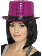 Cappello fucsia a cilindro con paillettes e nastro nero