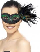 Maschera veneziana nera con piume di pavone