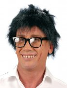 Parrucca corta nera arruffata per uomo