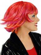 Perrucca corta rossa con meches arancioni e rosa