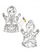 2 Marionette da colorare lavabili e 6 pennarelli