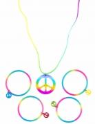 Collana e bracciali Hippie multicolore per adulto