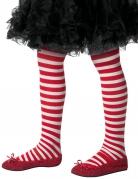 Collant a righe rosse e bianche per bambina