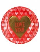 6 Piatti in cartone Love You 23 cm