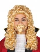 Perrucca bionda a boccoli con baffi per adulto