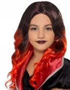 Parrucca lunga nera e rossa per bambina