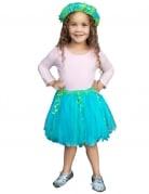Gonna da sirena azzurro e verde con corona per bambina