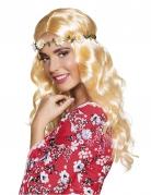 Parrucca bionda lunga con fascia di fiori per donna